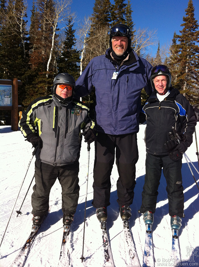 "Jan 23 - Deer Valley, UT - The real reason I go to the Sundance Film Festival is to ski with my friend Toby Mamis, on the left, with the famous 7'4"" basketball player Mark Eaton standing between us."