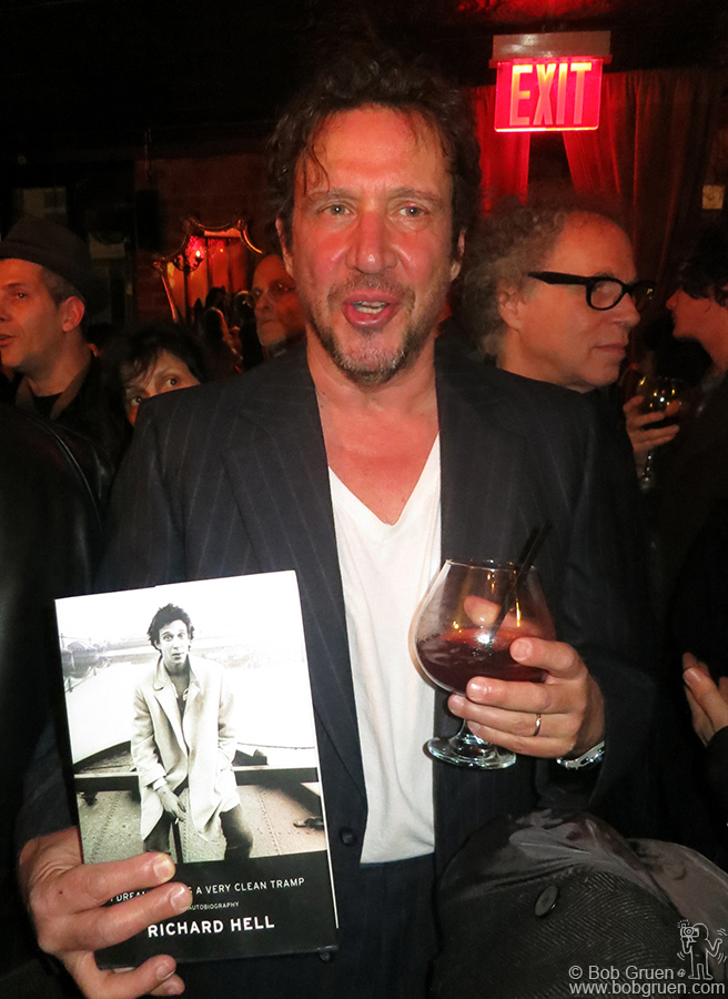 March 12 - NYC - Richard Hell shows his new biography at his book release party at the Bourgeois Pig bar in the East Village.
