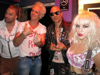 May 16 - New York - Barb Wire Dolls meet Supla backstage before their show at the Bowery Electric.