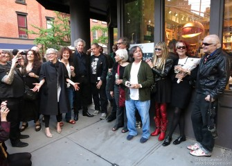 May 9 - New York - Marc Jacobs' Bookmarc on Bleecker Street hosted an exhibition of early punk scene photos by the photographers who were there at the start. Above at the opening: Janette Beckman, Laura Levine, me, Danny Fields, David Godlis, Stephanie Chernikowski, Bobby Grossman, Marcia Resnick, Roberta Bayley (who curated the show) and Leee Black Childers.