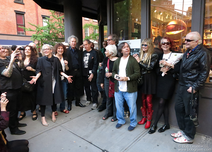May 9 - NYC - Marc Jacobs' Bookmarc on Bleecker Street hosted an exhibition of early punk scene photos by the photographers who were there at the start. Above at the opening: Janette Beckman, Laura Levine, me, Danny Fields, David Godlis, Stephanie Chernikowski, Bobby Grossman, Marcia Resnick, Roberta Bayley (who curated the show) and Leee Black Childers.