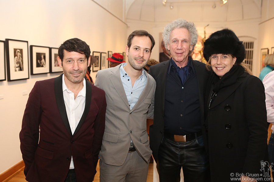 Jan 17 - NYC - Publicist Adam Nelson and gallery director Brandon Coburn with me and Elizabeth at the opening of an exhibition of my photos of the Rolling Stones at the Broome Street Gallery.