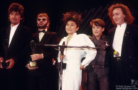 Yoko Ono, George Harrison, Ringo Starr, Sean Lennon & Julian Lennon, NYC - 1988