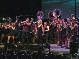 October 4 - Blondie finished their show with a rousing encore surrounded by the huge brass band 'What Cheer Brigade' from Providence, RI.