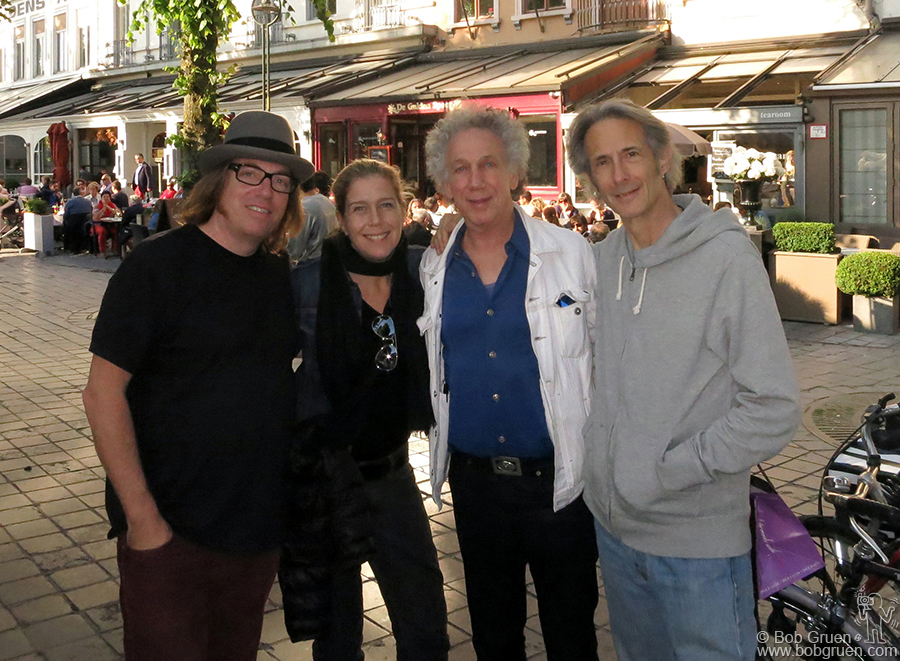 June 25 - Bruges, Belgium - Patti Smith was playing in Bruges when we were there so we had dinner with road manager Andrew Burns and guitarist Lenny Kaye before seeing the show.
