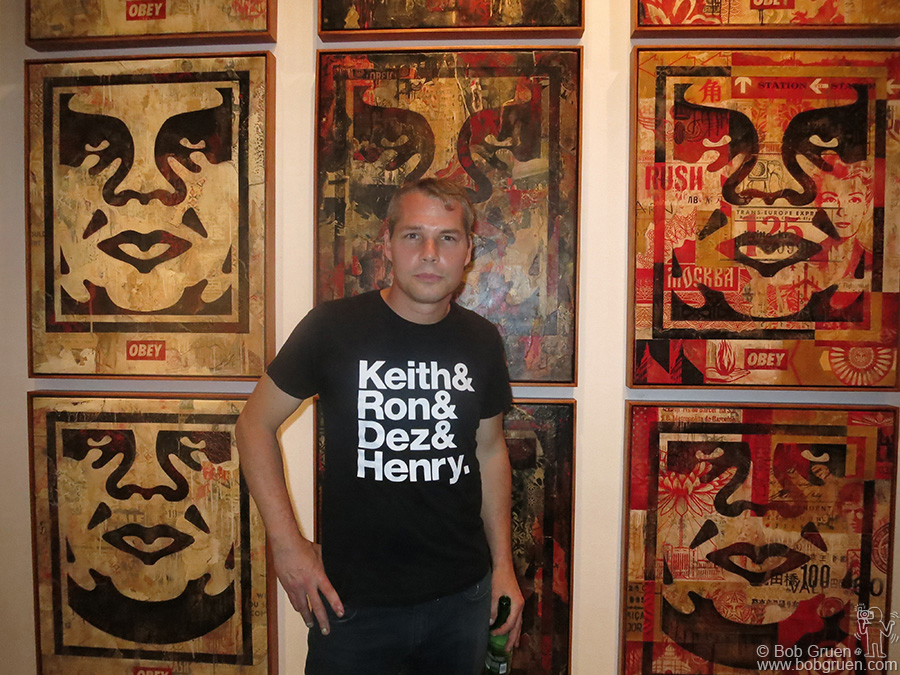 August 6 - NYC - Shepard Fairey showed some new works at the Wooster Projects anniversary exhibit in Chelsea.