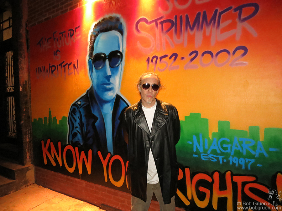 September 19 - NYC - Dr. Revolt finished his new mural tribute to Joe Strummer outside the Niagara bar on Ave A & 7th Street in time for Mick Jones to see after the Clash press conference.