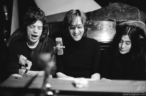John Lennon, Yoko Ono and Mick Jagger, NYC - 1972