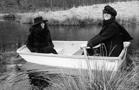 In March of 1973 I drove John and Yoko to Greenwich, Connecticut where they wanted to look at several houses for sale. First, they stopped at my mother-in-law's house so they could relax and get used to being out in the country. They went out in the backyard where John and Yoko played around in a rowboat.