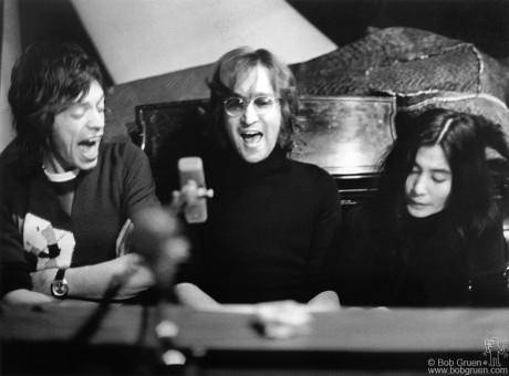 John Lennon, Yoko Ono & Mick Jagger, NYC - 1972