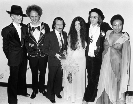 David Bowie, Art Garfunkel, Paul Simon, Yoko Ono, John Lennon and Roberta Flack, NYC - 1975
