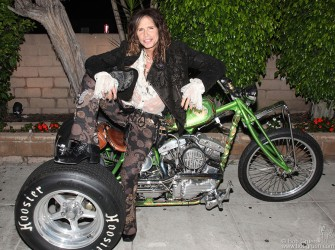September 29 - Los Angeles - Steven Tyler with his Trike, one of the last by the famous motorcycle maker Indian Larry.
