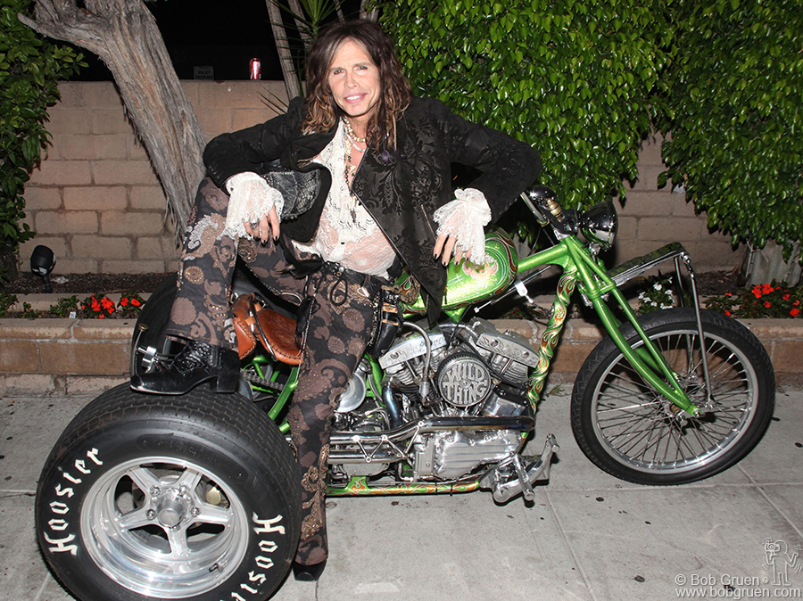 Sept 29 - Los Angeles - Steven Tyler with his Trike, one of the last by the famous motorcycle maker Indian Larry.