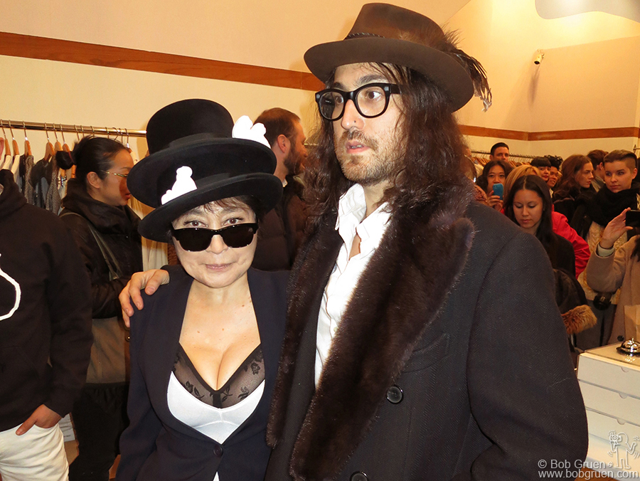 Nov 27- NYC - Yoko Ono launched a line of fanciful men's clothes at the Opening Ceremony store in SOHO and was joined by her son Sean who has just produced a new album by his mom, due out in February in time for her 80th birthday.