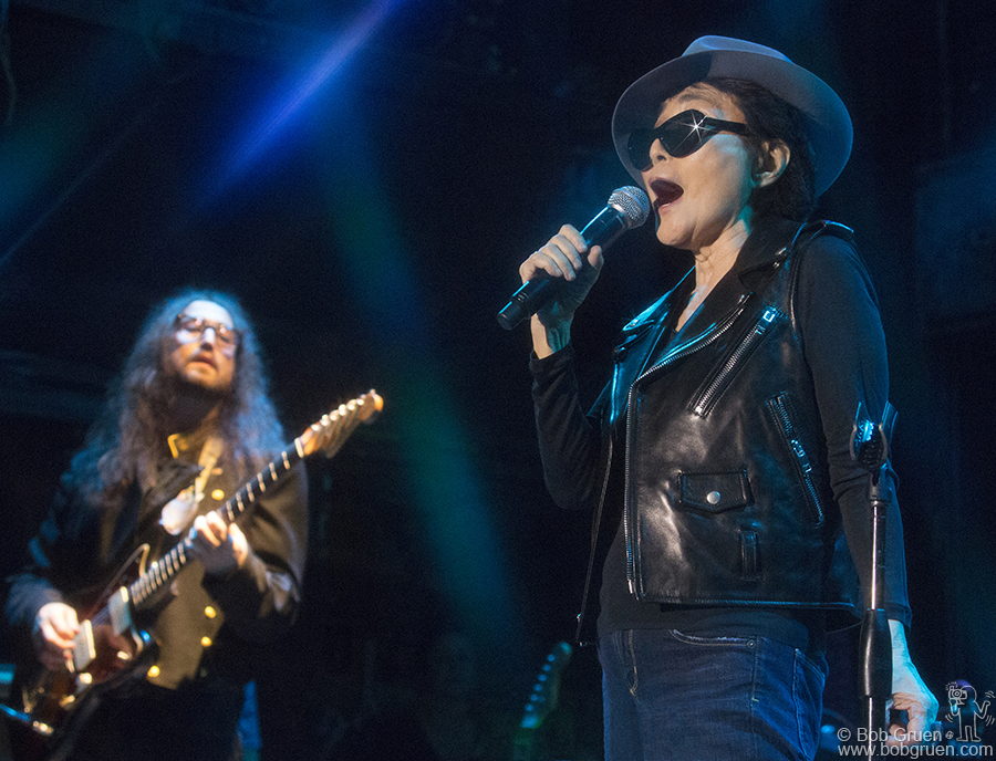 September 15 - NYC - Yoko Ono showed that at 80 she still rocks like the kids, with her son Sean Lennon leading her band at Bowery Ballroom.