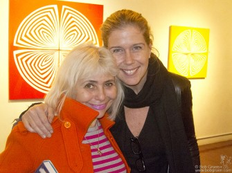 October 12- New York City - At the opening party for my wife Elizabeth Gregory-Gruen's art show at Salomon Arts Gallery, Elizabeth greeted the performance artist Penny Arcade.