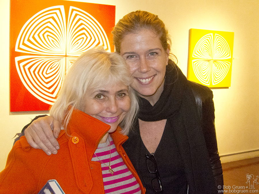 Oct 12- NYC - At the opening party for my wife Elizabeth Gregory-Gruen's art show at Salomon Arts Gallery, Elizabeth greeted the performance artist Penny Arcade.