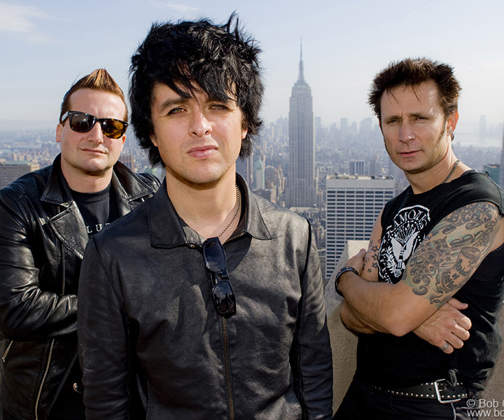 Green Day, Top Of The Rock, NYC. May 16,  2009. <P>Image #: C-165 © Bob Gruen