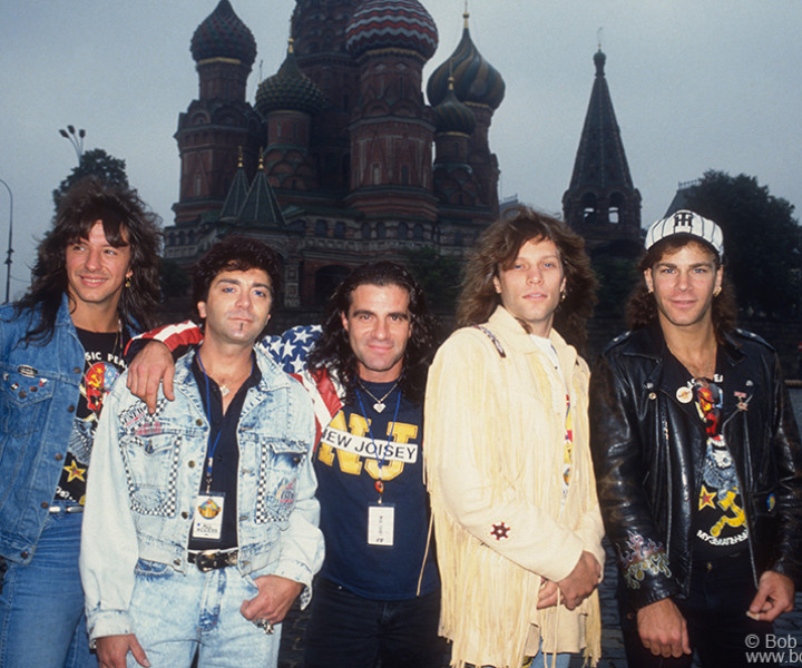 Bon Jovi, Moscow, Russia. August 1989. <P>Image #: C-193  © Bob Gruen