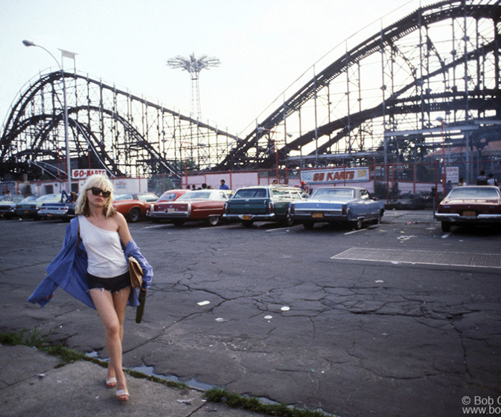 Debbie Harry, Coney Island, NY. August 7, 1977. <P>Image #: C-63 © Bob Gruen
