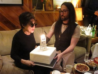 February 18 - Sean Lennon presented his mom with a cake at Yoko's 81st birthday party at Sear Sound in New York. His present to her was a band to back her as she recorded some new tracks.