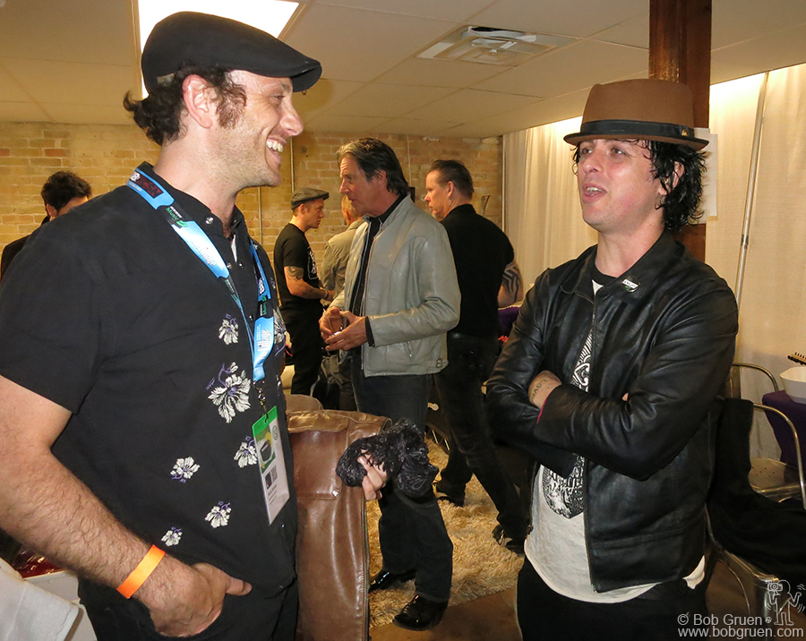 March 14 - Austin, TX - My son Kris Gruen & Billie Joe Armstrong catch up after the show at Brazos Hall in Austin, TX.