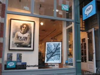 April 3rd - NYC - Pop International Galleries at 473 West Broadway in New York's Soho hosted a large exhibition of my photos, with 4 new silkscreen prints by Gary Lichtenstein of my images as this one of John Lennon in the window display.