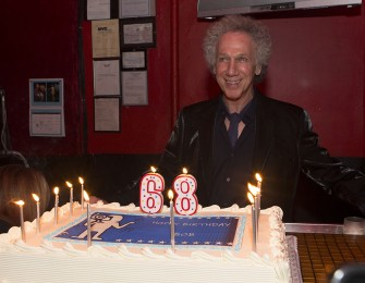 October 23 - My 68th birthday party at R Bar featured a big cake but it was all gone by the end of the party. Photo by David Appel.