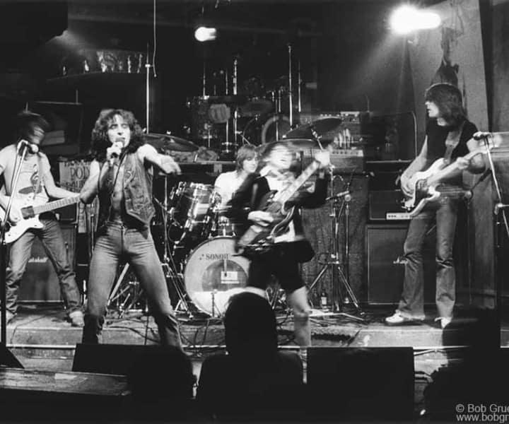 AC/DC, CBGB. August 1977. <P>Image #: R-322  © Bob Gruen