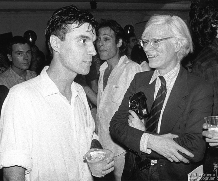 David Byrne and Andy Warhol, NYC. August 1978. <P>Image #: R-414  © Bob Gruen