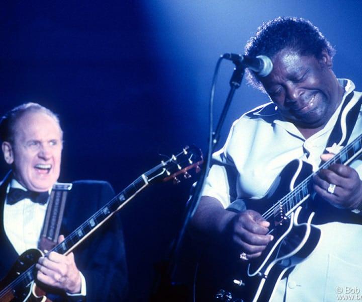 Les Paul and B.B. King, Brooklyn, NY. August 1988. <P>Image #: C-178  © Bob Gruen
