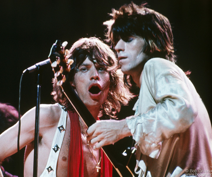 Mick Jagger and Keith Richards, MSG, NYC. July 24, 1972. <p>Image #: C-25 © Bob Gruen