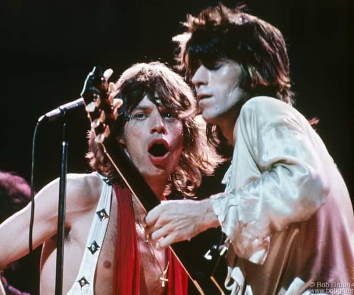 Mick Jagger and Keith Richards, MSG, NYC. July 24, 1972. <p>Image #: C-25 © Bob Gruen