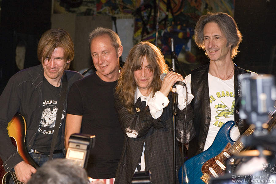 """Oct 15 – NYC - On the last night The Patti Smith Group posed for the gathered press after their sound check. Asked what kids will do now that CB's is gone Patti said they """"will have to find some shithole where some guy will let them play like we did""""."""