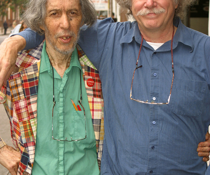 Tuli Kupferberg and Ed Sanders, NYC. July 30, 2003. <P>Image #: C-312  © Bob Gruen