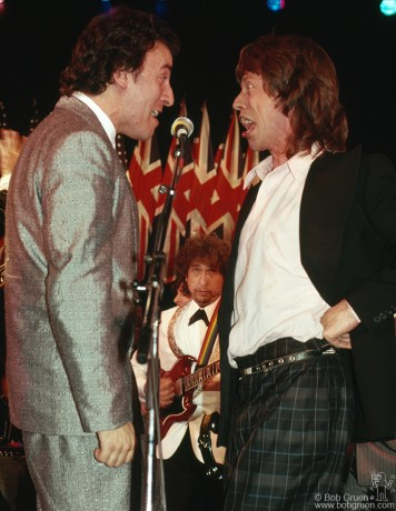 The best part of the Rock & Roll Hall of Fame induction dinners is the jam after the ceremonies. A lot of stars get up and sing together, which is how this most unusual grouping of Bruce Springsteen, Bob Dylan & Mick Jagger happened. It was one of the most exciting nights they've ever had there!