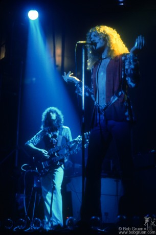 Led Zeppelin often used dark, moody lighting during their shows. This made them hard to photograph. The contrast between the blue & yellow really sets off Jimmy Page and Robert Plant and captures the feeling of the night at Madison Square Garden.