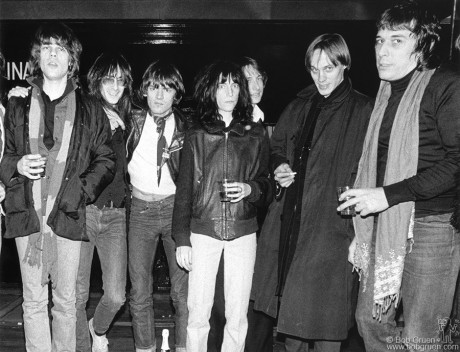 David Johansen, Lenny Kaye, Dee Dee Ramone, Patti Smith, Jay Dee Daugherty, Tom Verlaine & John Cale, NYC - 1976