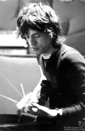 When Mick visited at John & Yoko's recording session he and John were playing guitars together for a while. I thought it was unusual to see Mick Jagger playing guitar.