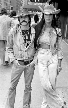 """Sonny and Cher were huge American TV favorites when I happened to see them walking down Lexington Avenue one day. I jumped out of my car and ran up in front of them and asked them if they'd mind posing for a picture. They were very friendly and said, """"Sure, go ahead""""."""