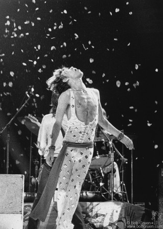 Towards the end of the Rolling Stones Show at Madison Square Garden in 1972 Mick threw several handfuls of rose petals into the air and then seemed to float under them as they fell to the stage.