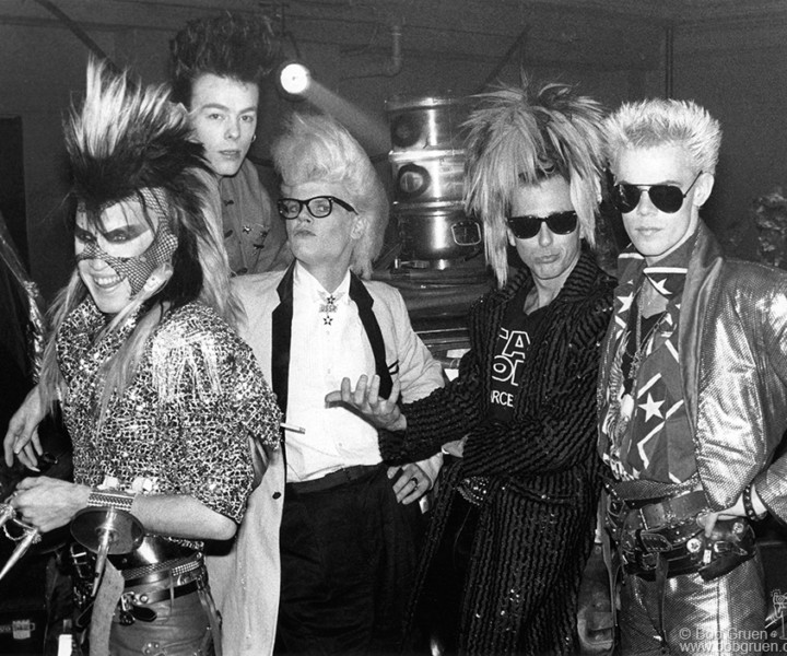 (L-R) Martin Degville, Chris Kavanaugh, Neal X, Tony James and Ray Mayhew, The Palladium, NYC. November 1986. <P>Image #: R-413 © Bob Gruen
