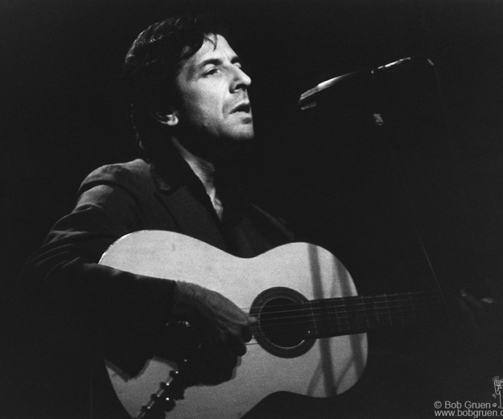 Leonard Cohen, Bottom Line, NYC. November 29, 1974. <P>Image #: R-500  © Bob Gruen