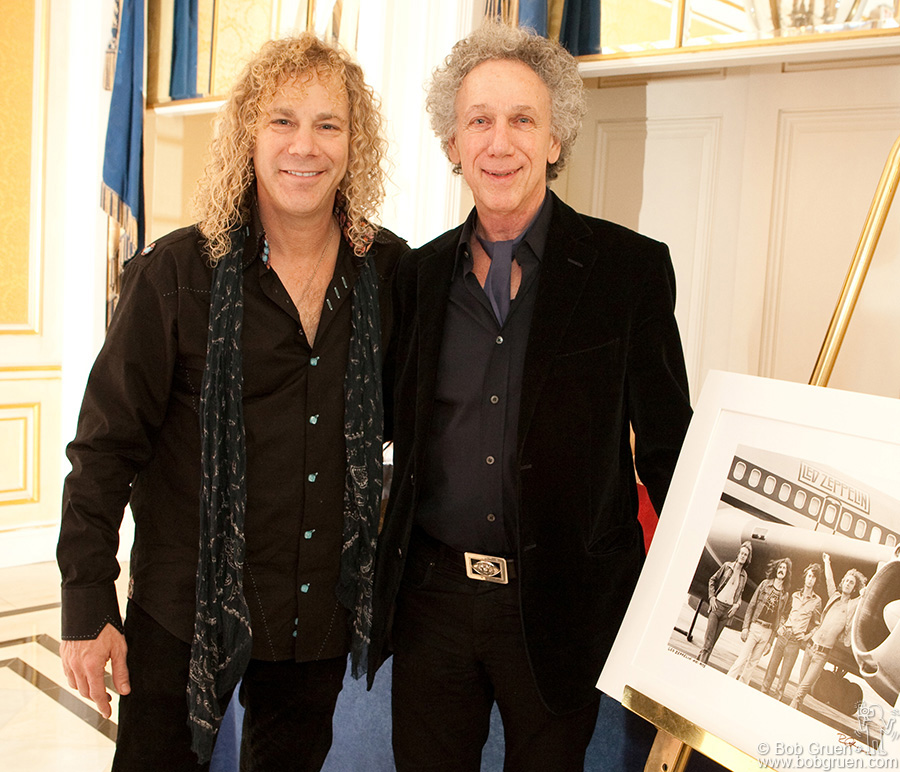 Feb 11 - NYC - Piano player and playwrite David Bryan celebrated his 50th birthday at the Essex House, where I gave him a print of my Led Zeppelin photo. He said the photo inspired him to become a rock star.