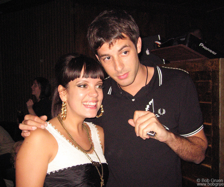 Lily Allen and Mark Ronson, Pink Elephant, NYC. October 10, 2006. <P>Image #: C-259  © Bob Gruen
