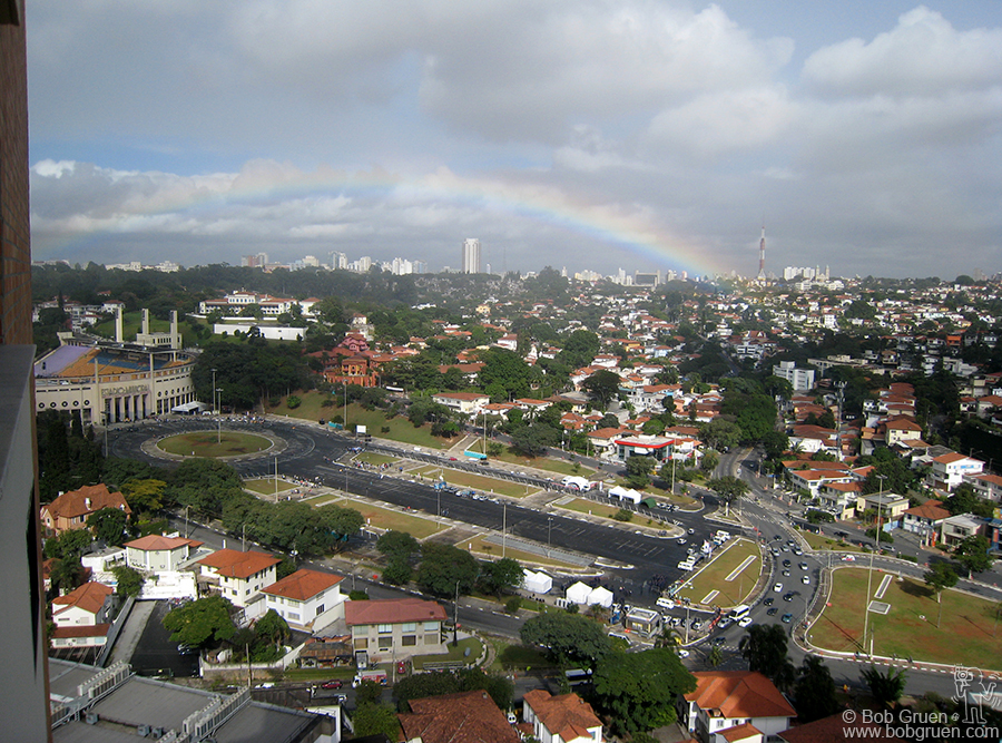 One day I woke up and saw a rainbow over the Estadio Municipal, next to my hotel (where I saw the Rolling Stones and Bob Dylan in 1998).