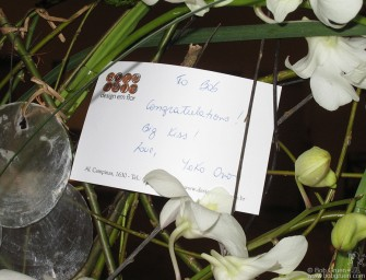 Yoko Ono sent flowers and a 'Big Kiss' to wish Bob success with the exhibition.