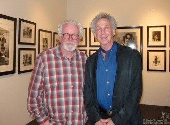 In the calm before the crowded opening of my exhibition at the Fahey/Klein Gallery, David Fahey and I check out the display.