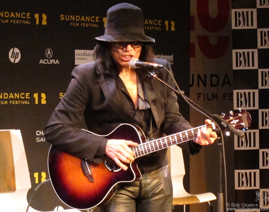 Jan 25 - Utah - Presumed lost but now found, singer/songwriter, Rodriguez, who hadn't performed since the late '60's played at BMI's Sundance Snowball music showcase to promote the movie about his amazing revival.