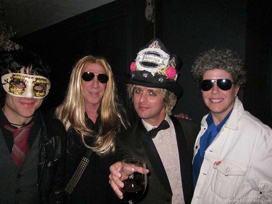 Feb 17 - San Francisco - Invited to the surprise masquerade party for Billie Joe Armstrong's 40th birthday, Elizabeth and I dressed as each other, and got 'best costume' cheers from all the friends there, including Jesse Malin on the left.